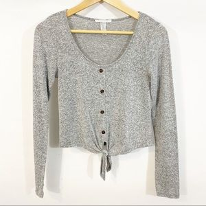 UO Caution to the Wind Grey Tie Front Top